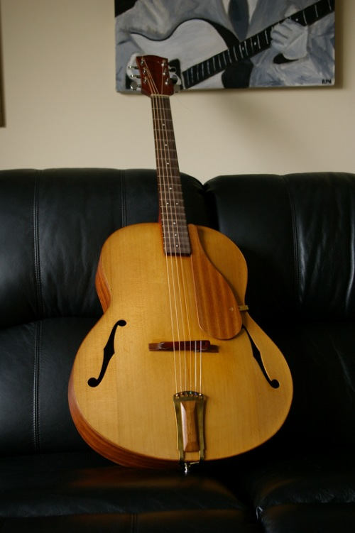 cedar archtop, with bubinga back & sides