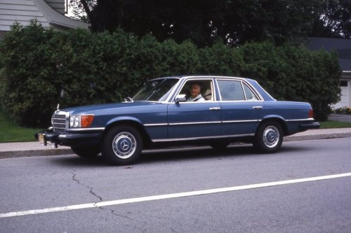 my father in his 1974 Mercedes