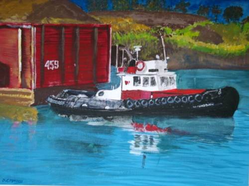Tug and barge, Victoria harbour