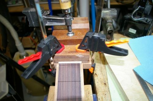 head veneer glued and clamped