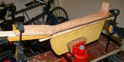 neck in carving jig, in swivel vice, on workmate