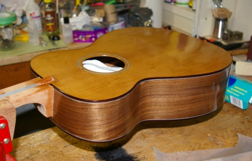 guitar body after one french polishing session