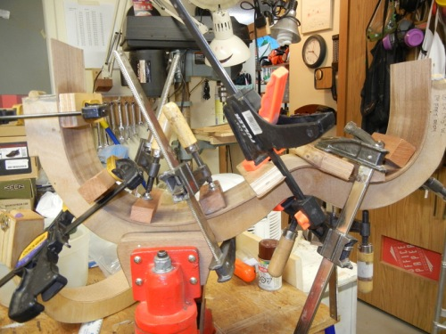 rib clamped to mold
