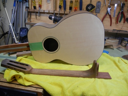 unfinished guitar body and neck