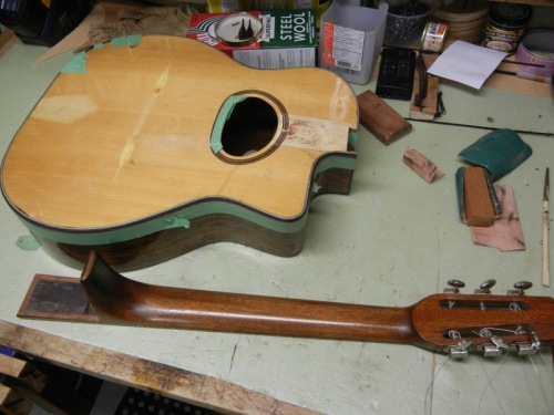 neck done, body in process for a refinished top