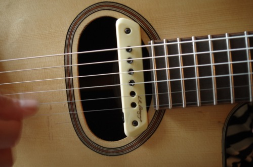 guitar with soundhole pickup installed