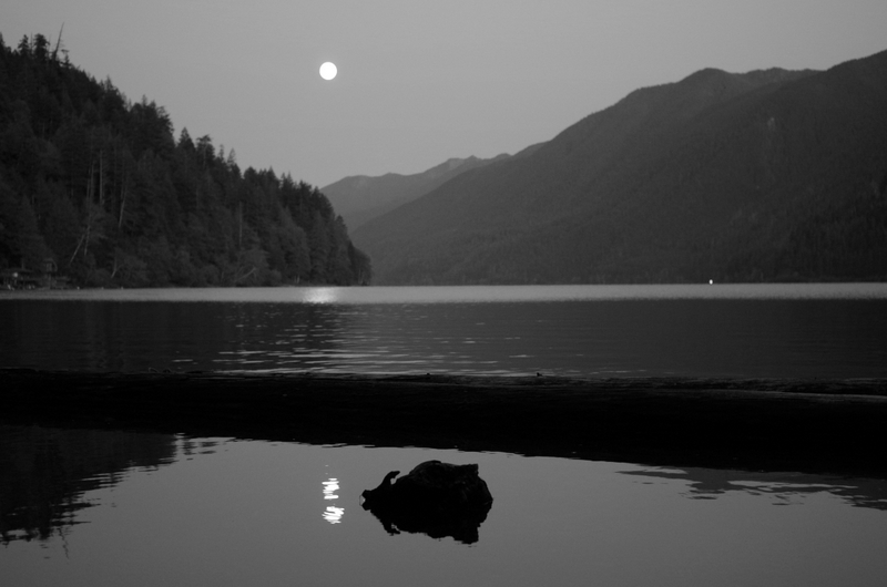 super moon over Lake Crescent