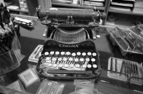 Corona folding typewriter in stationary shop - Pt Townsend