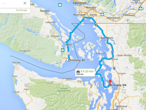Victoria to Langley, Washington - the long way